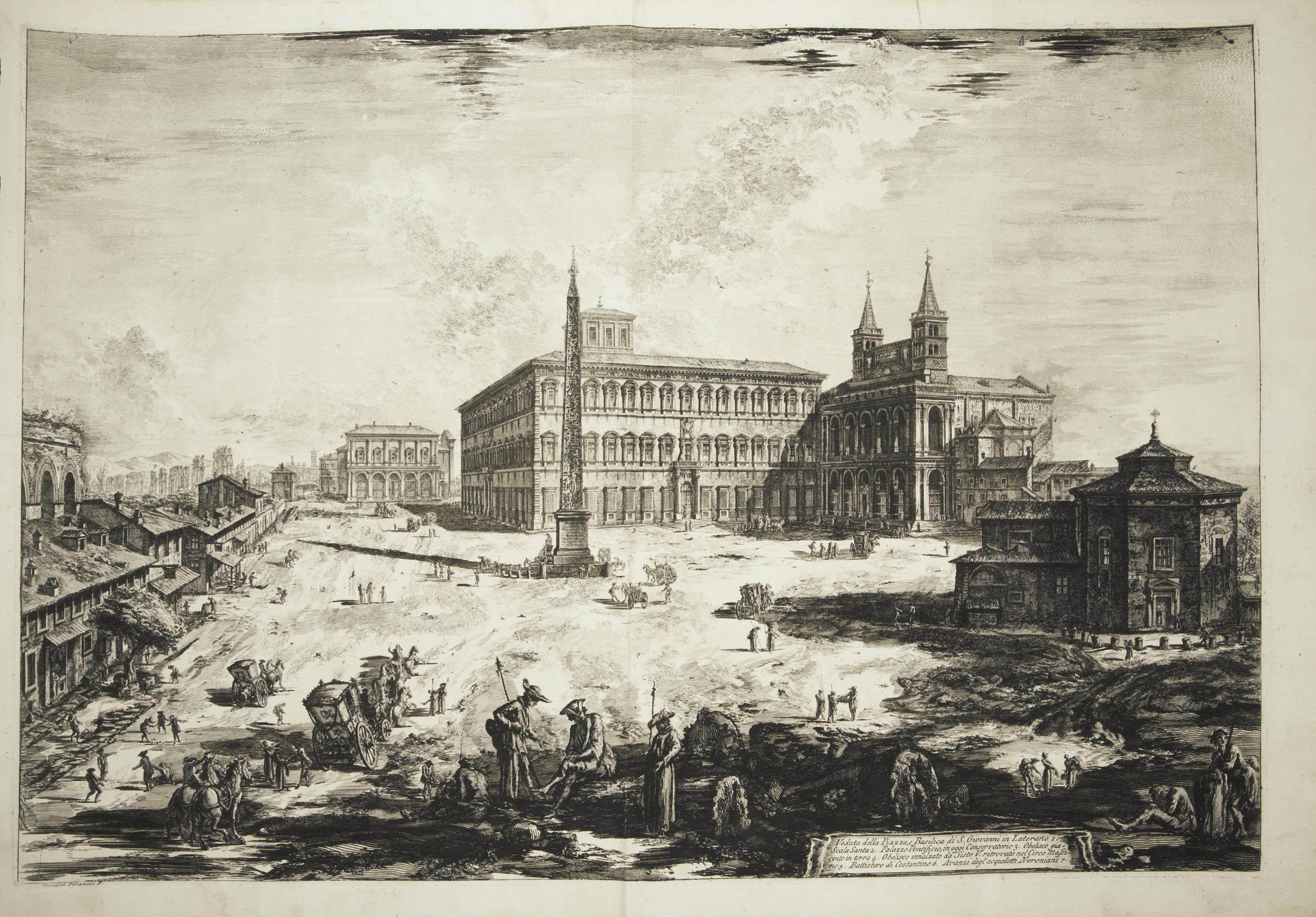 PIRANÈSE, Giovanni Battista (1720-1778). Collection de 6 planches provenant de la suite des Vedute di Roma. Rome: 1757-1772. (Traces de pliures.)