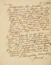 """FREUD, Sigmund (1856-1939). Lettre autographe signée et datée du 16.3.1934, une feuille in-4 (286 x 228 mm), avec en-tête """"Prof. Dr Freud"""" et l'adresse """"Wien, IX., Bergstrasse 19"""". (Petites déchirures aux pliures.) En allemand."""