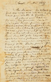 """VERLAINE, Paul (1844-1896). Lettre autographe signée """"P. V."""" adressée à Ernest Delahaye. [Stickney], """"samedi 1er mai 1875"""". 2 pages in-12 (176 x 111 mm). Encre sur papier (déchirure sans manque à la pliure et rousseurs)."""