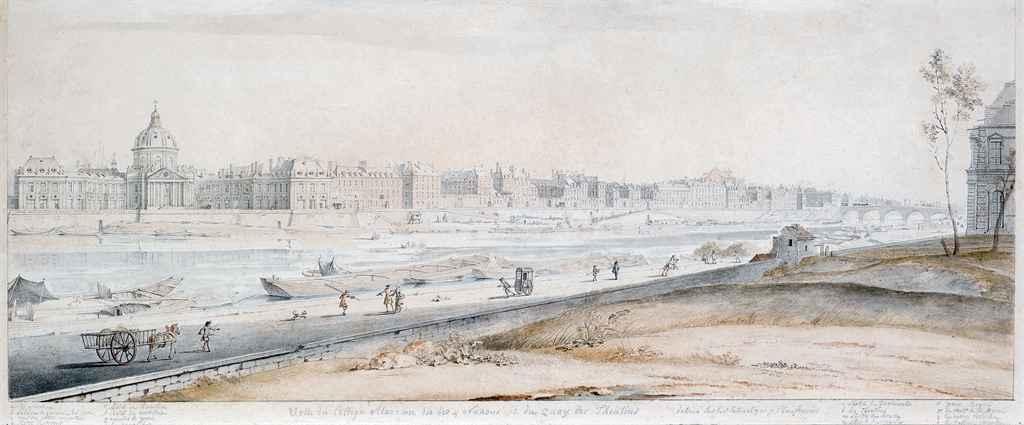 Les quais de Seine parisiens avec l'ancien collège Mazarin, aujourd'hui Institut de France, à l'arrière-plan