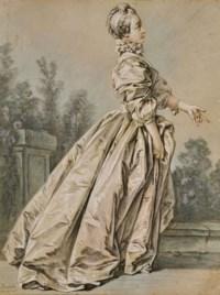 Femme dans un parc tournée vers la droite, autrefois dit 'Madame de Pompadour'