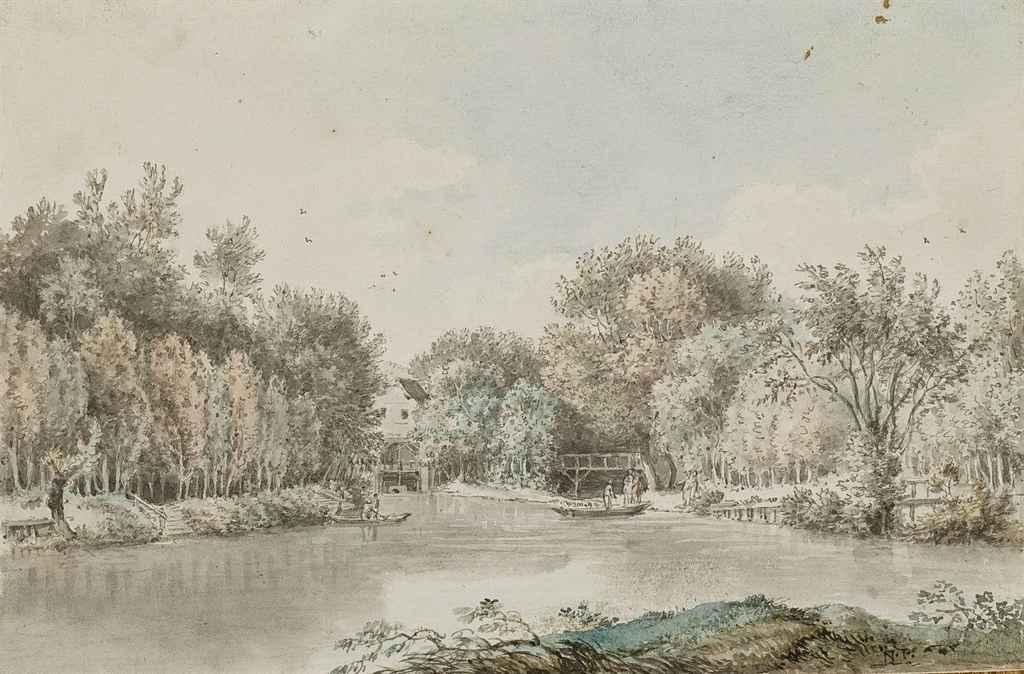 Paysage fluvial, des barques à l'arrière-plan