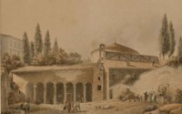 L'église Saint Etienne de Rome, des personnages sur la place