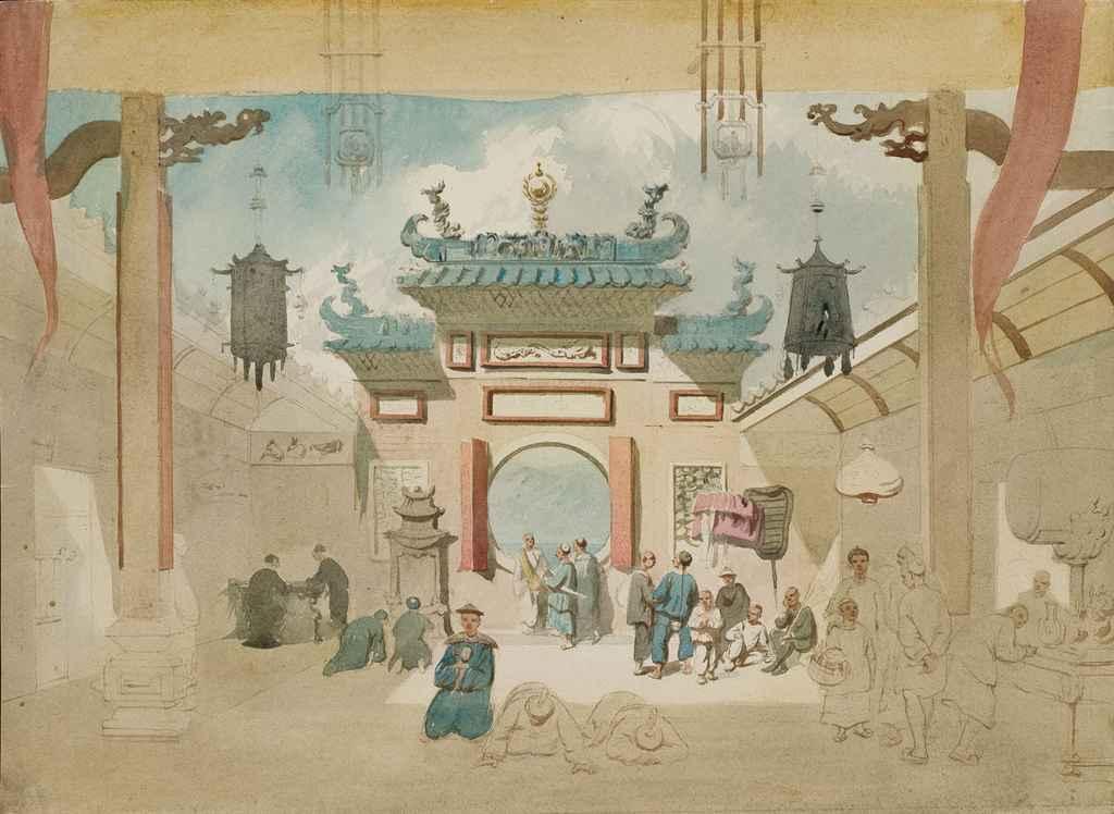 Personnages à l'intérieur d'un temple chinois