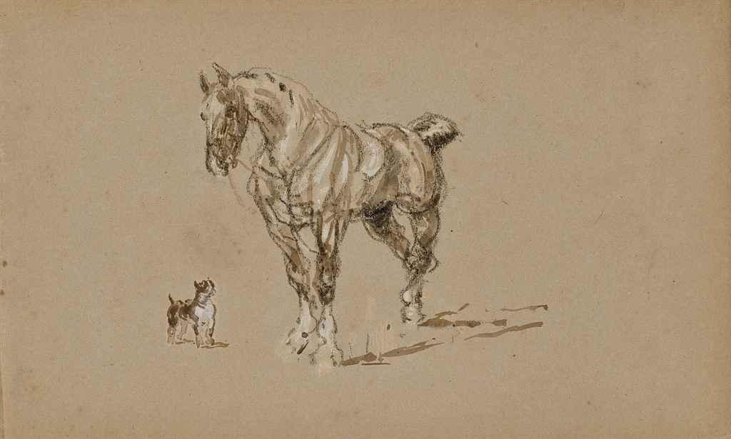 Etude d'un cheval avec un chien (recto); Un dresseur d'ours (verso)