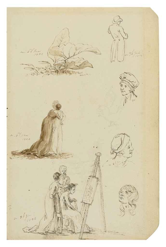 Etude de têtes, figures et feuillages