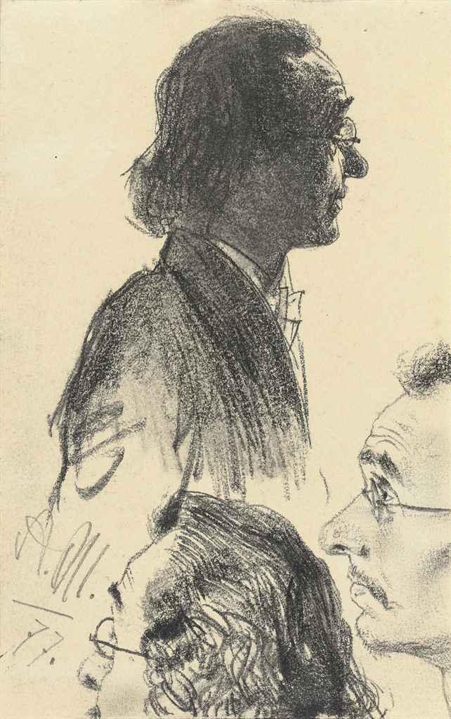 Etude de trois têtes d'hommes regardant un spectacle