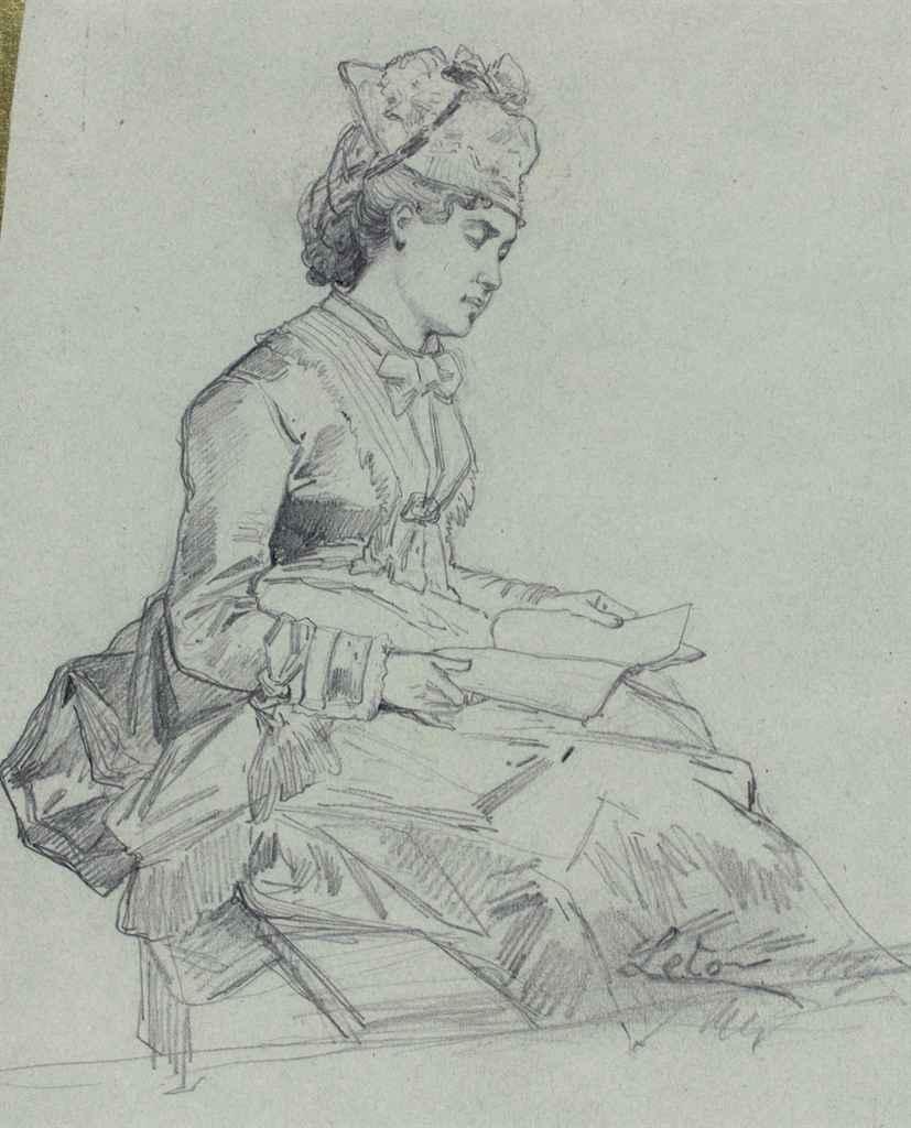 Etude d'une femme assise lisant