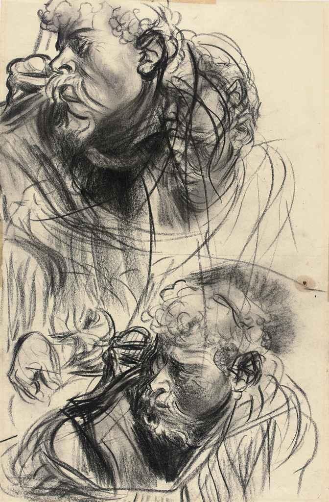 Etude de deux têtes d'hommes barbus