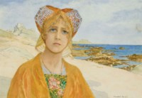 Jeune princesse scandinave sur une plage