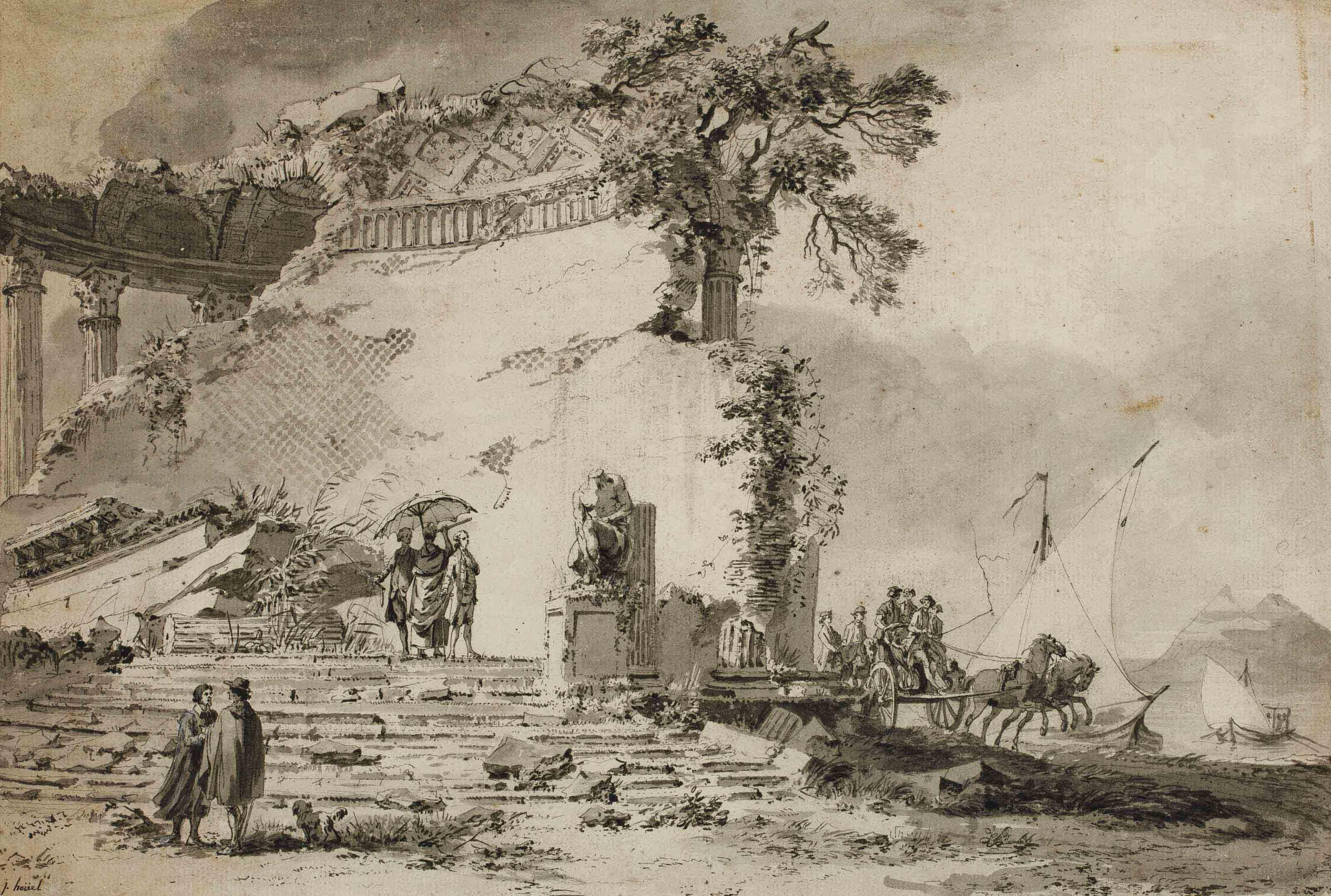 Scène imaginaire au milieu de ruines