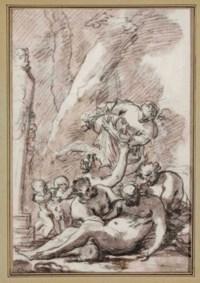 Silène ivre soutenu par deux faunes