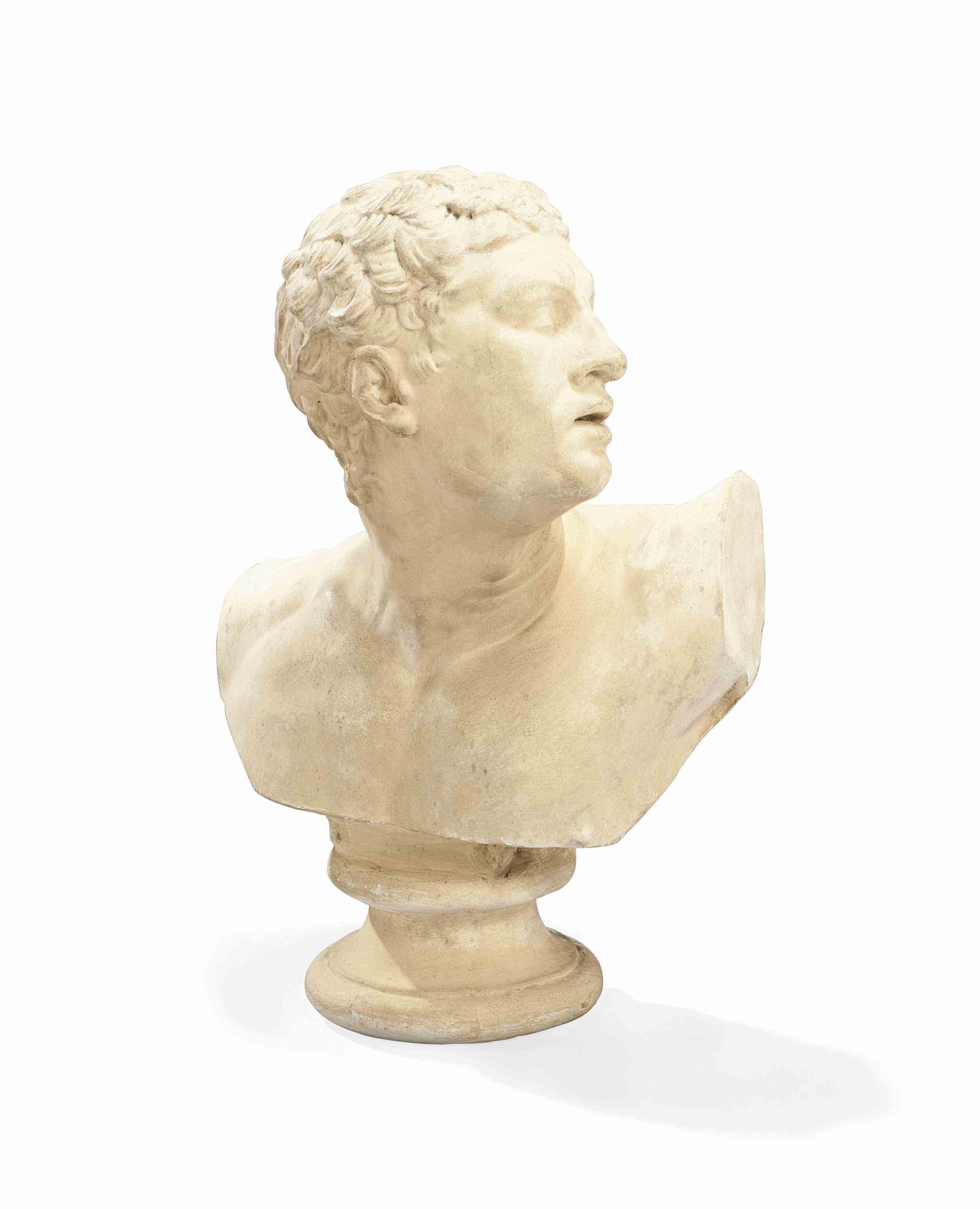 buste en platre representant le gladiateur borghese d 39 apres l 39 antique france xixeme siecle. Black Bedroom Furniture Sets. Home Design Ideas