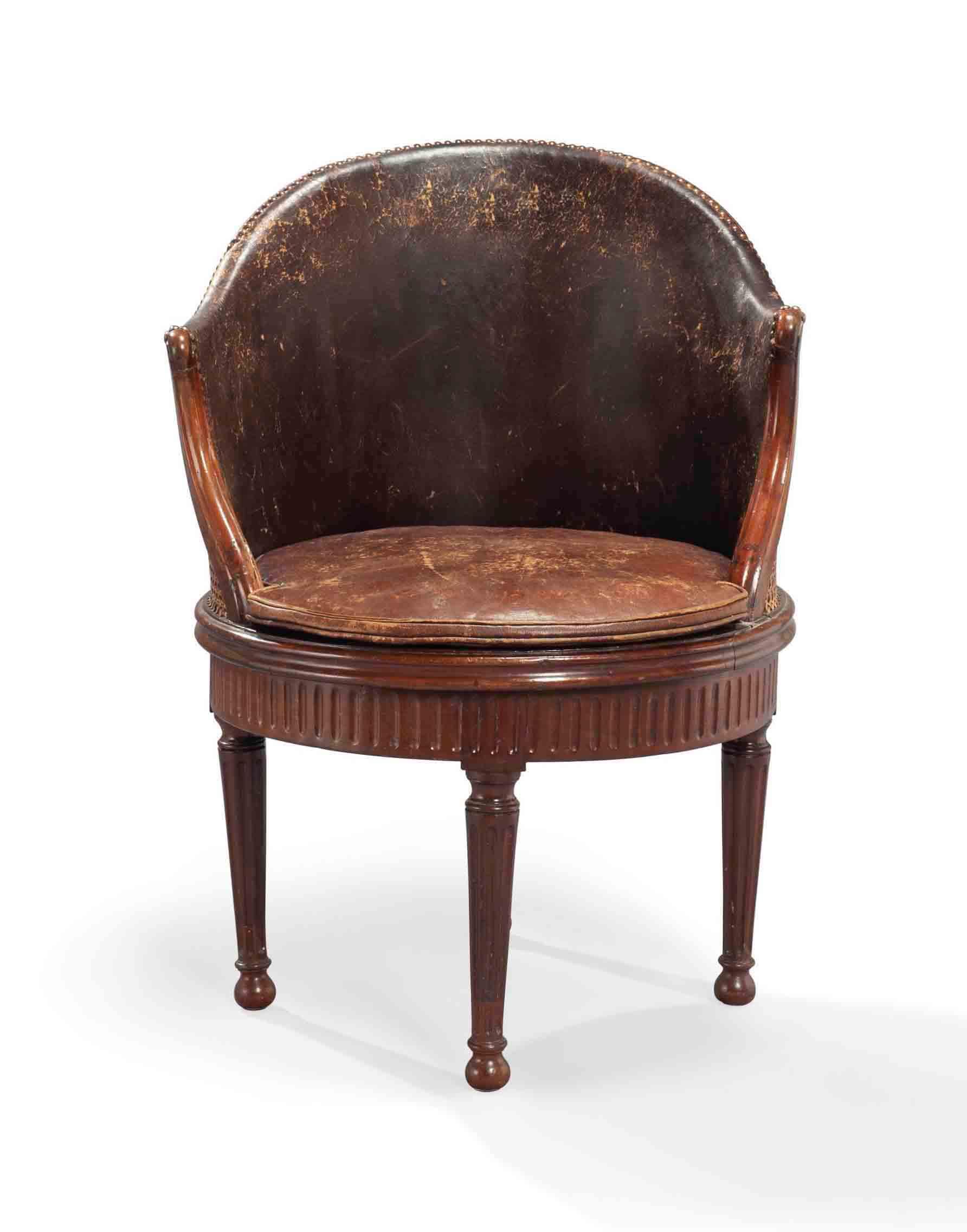 fauteuil de bureau tournant d 39 epoque louis xvi estampille de pierre garnier troisieme quart. Black Bedroom Furniture Sets. Home Design Ideas