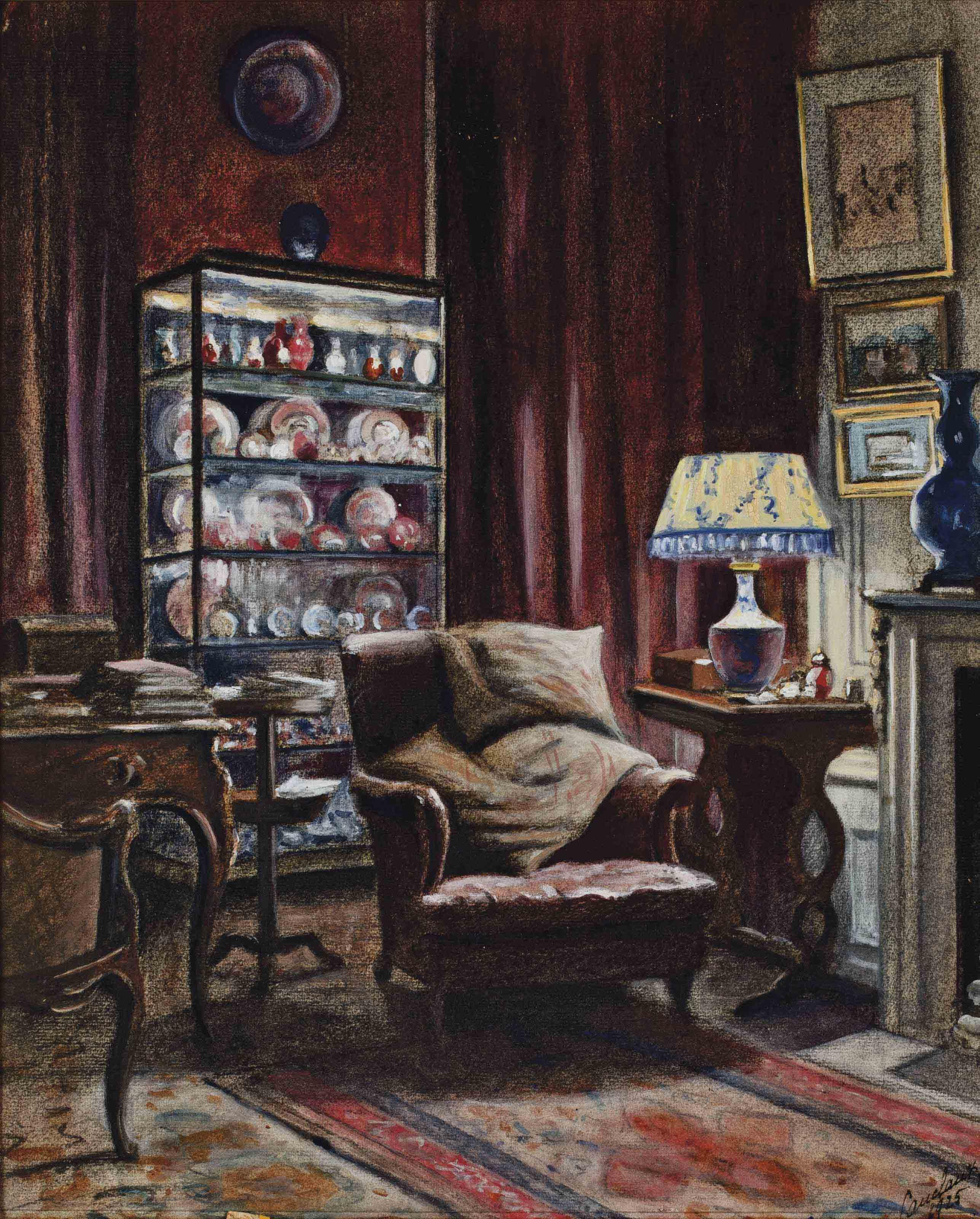ecole francaise du xxeme siecle int rieur d 39 un cabinet d 39 amateur christie 39 s. Black Bedroom Furniture Sets. Home Design Ideas