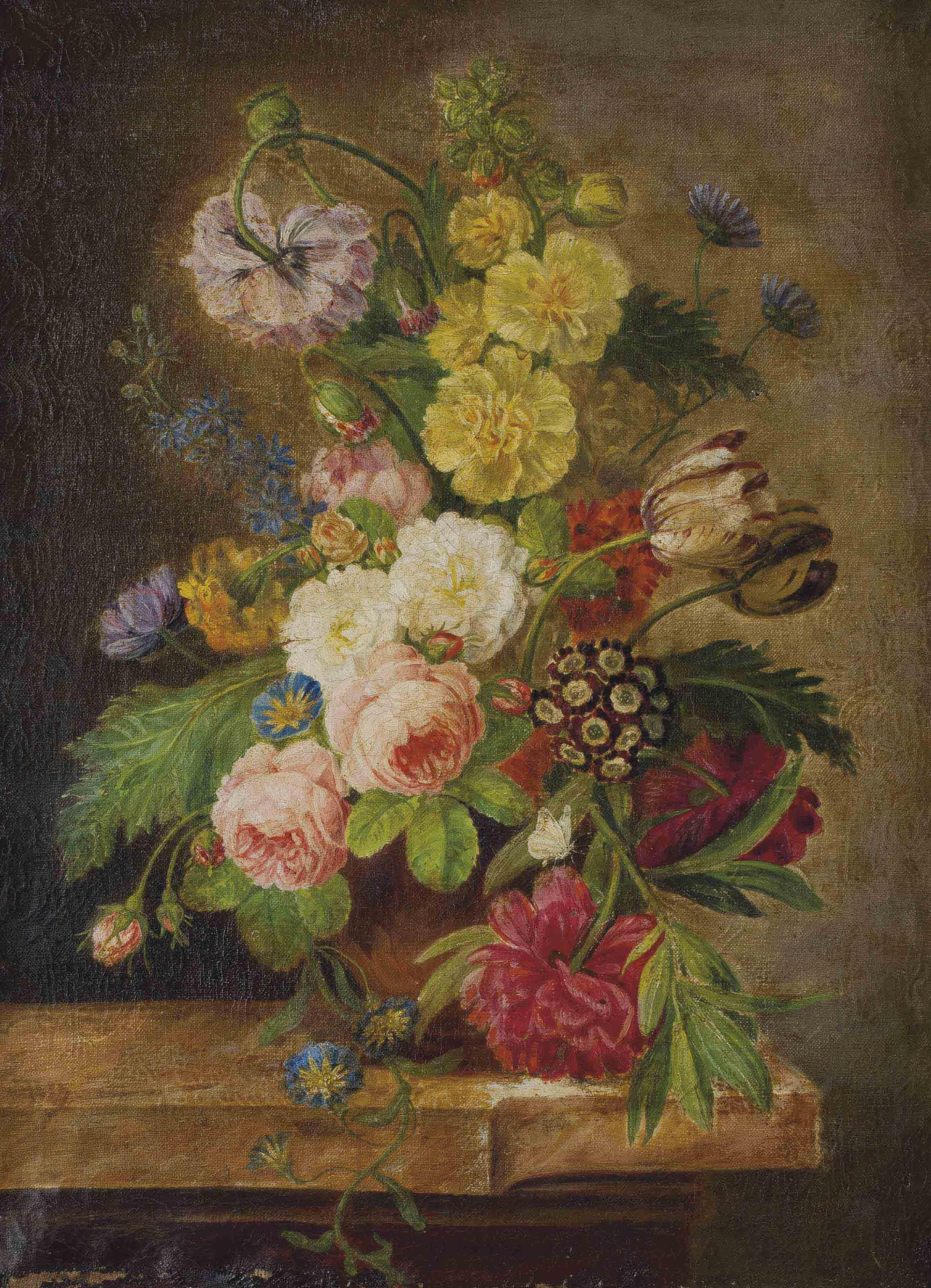 Vase avec pivoines, roses et tulipes, liserons et autres fleurs sur un entablement en marbre
