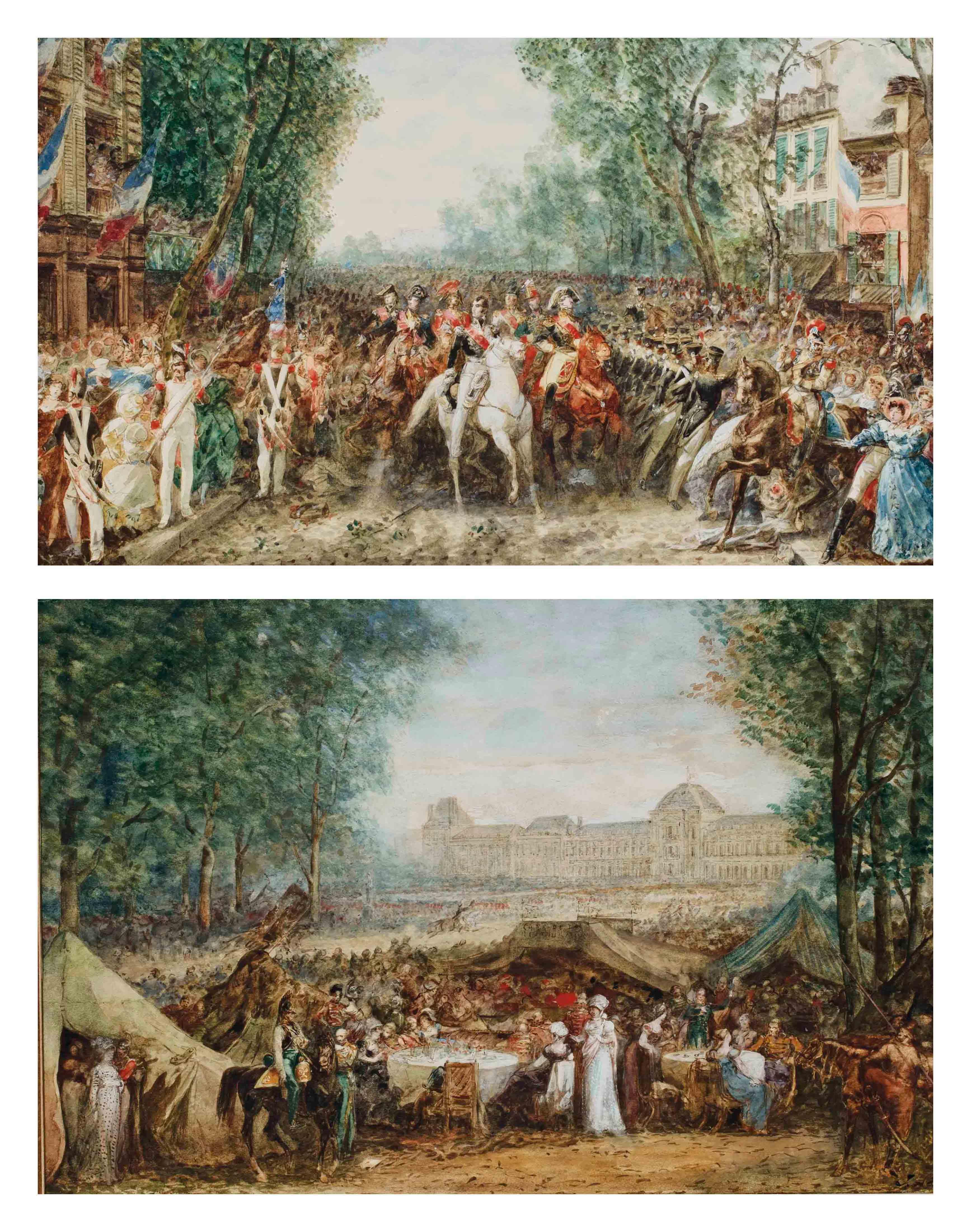 Fête devant le palais des Tuileries; et Défilé à cheval parmi la foule