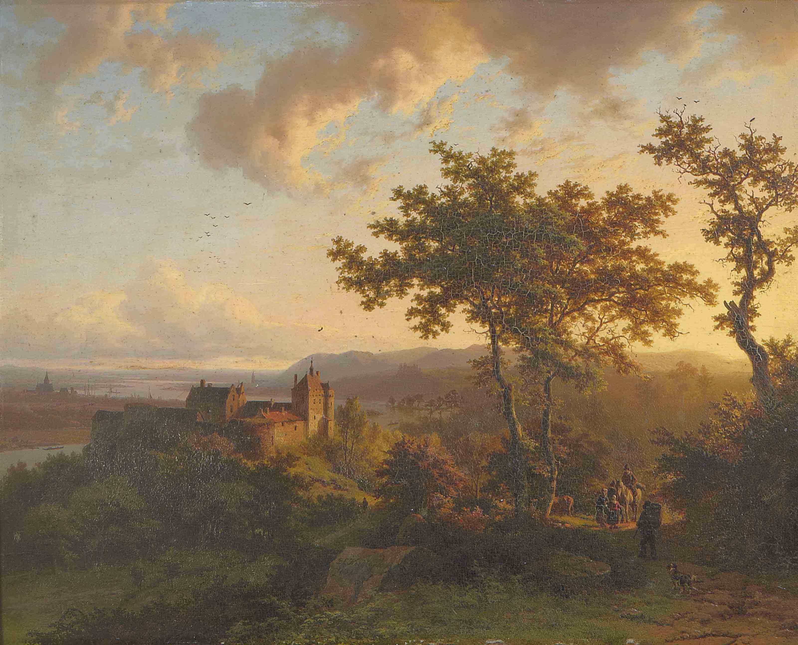 Paysage boisé avec un château