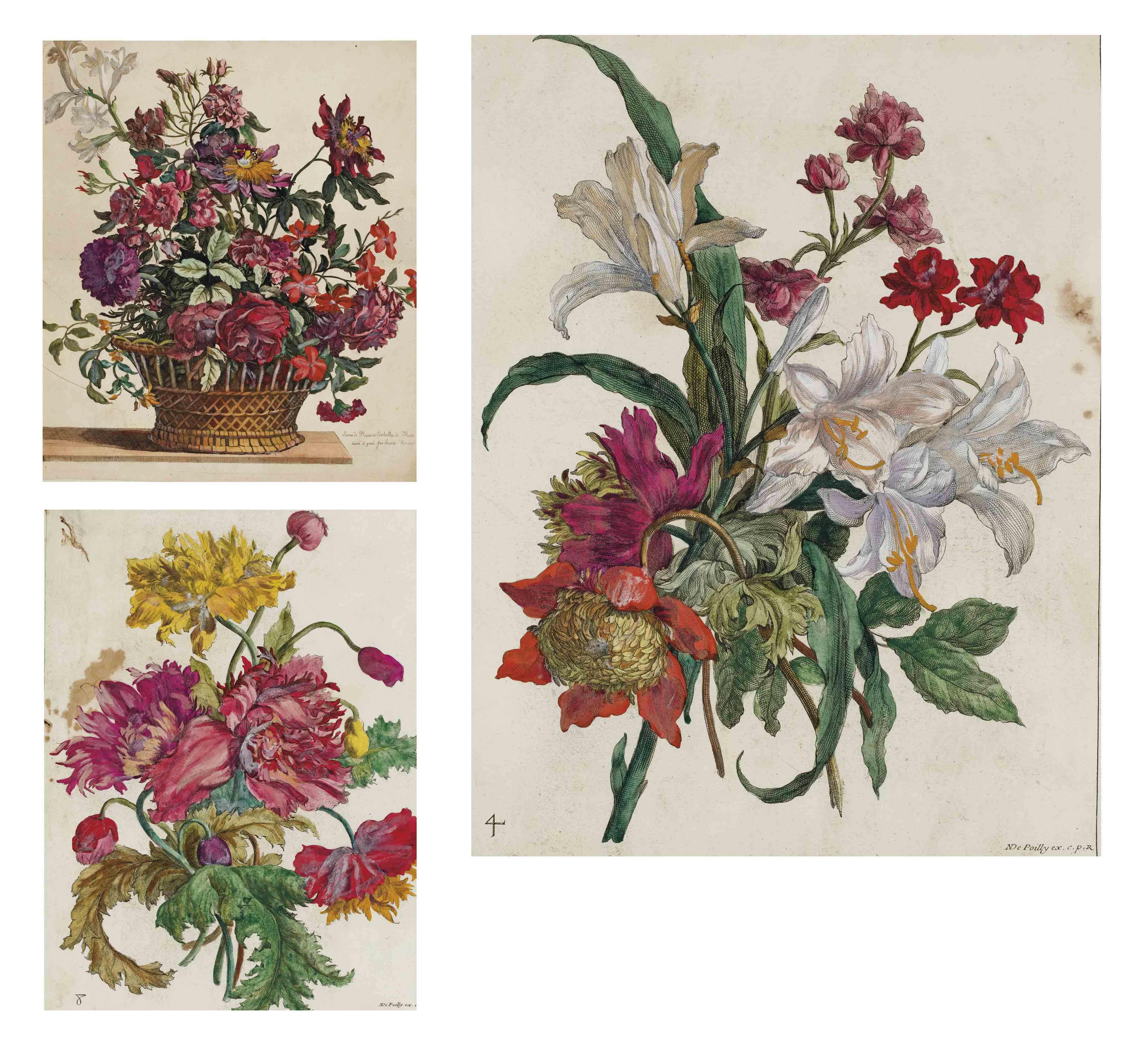 Fleurs, par Jean-Baptiste de Poilly et par Gabriel Huquier