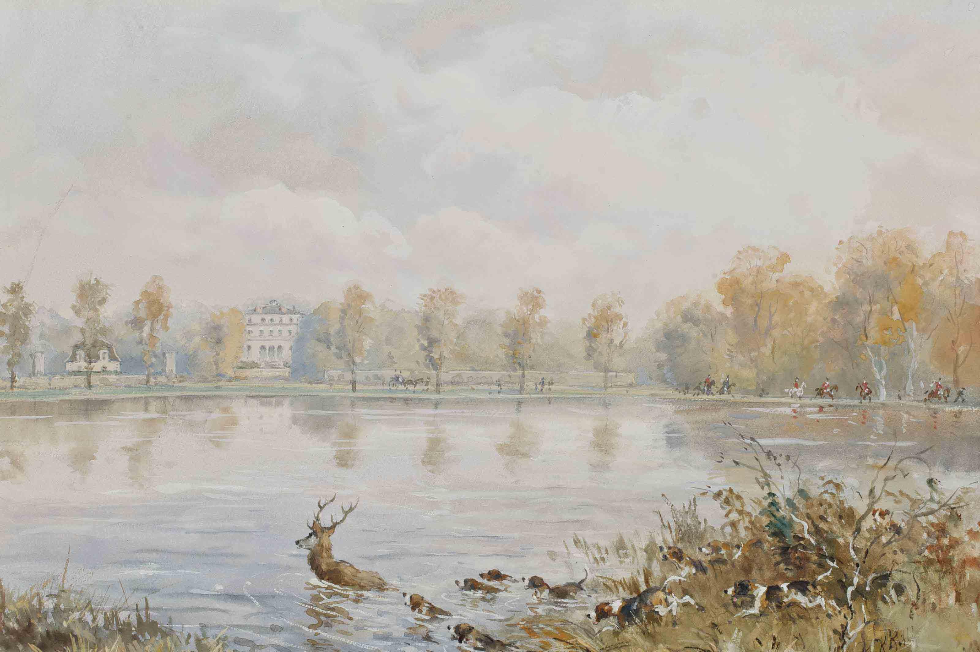 Le palais abbatial de Royaumont, des chiens chassant un cerf au premier plan