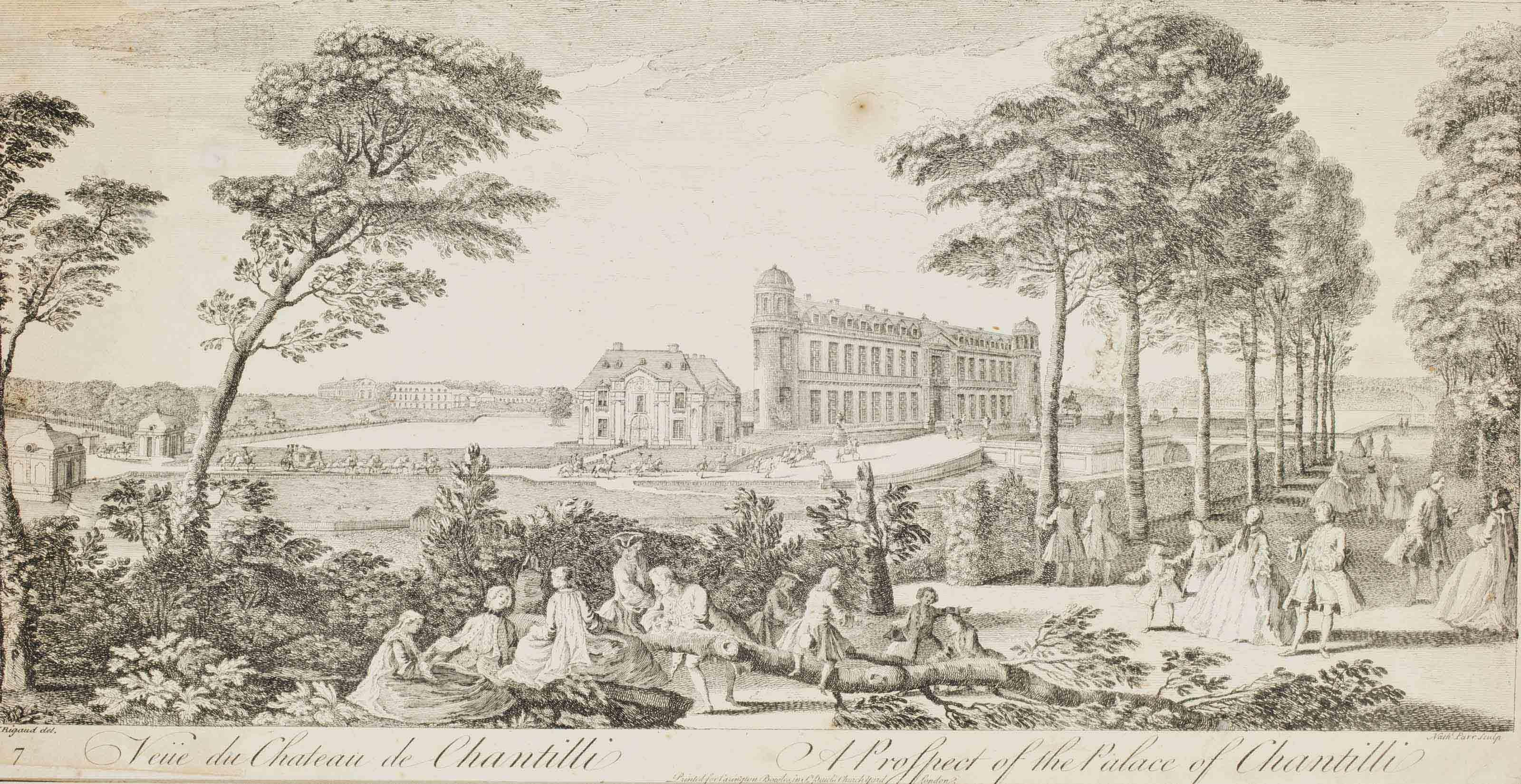 Vue des Ecuries de Chantilly ; Vue du château de Chantilly