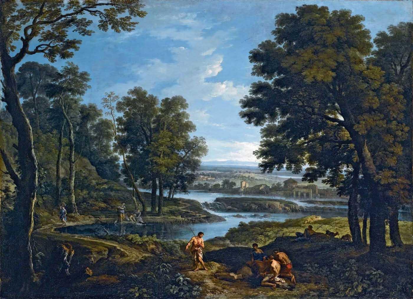 Paesaggio fluviale con lavandaie e pastori