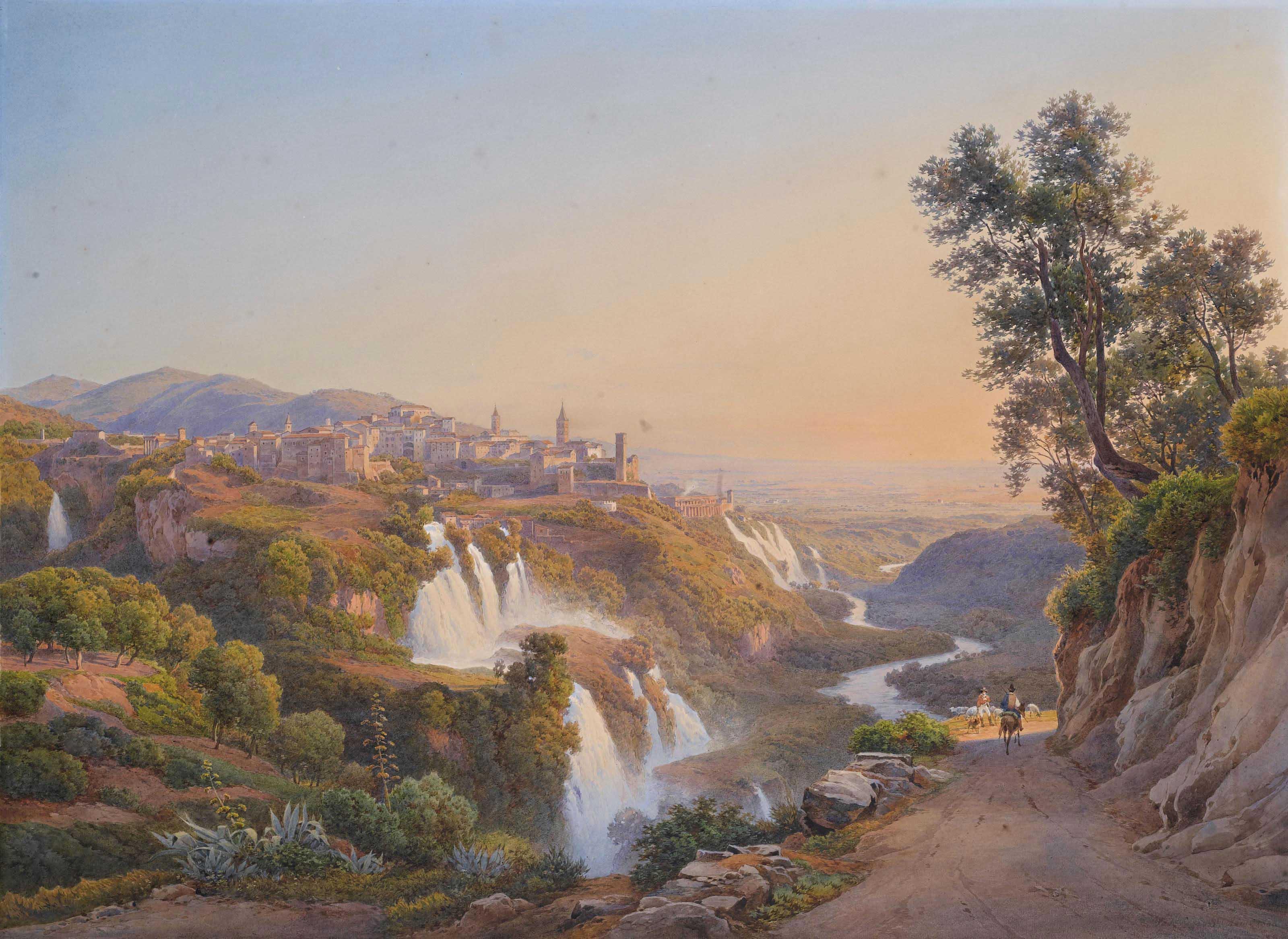 Veduta di Tivoli con le cascatelle e la villa di Mecenate