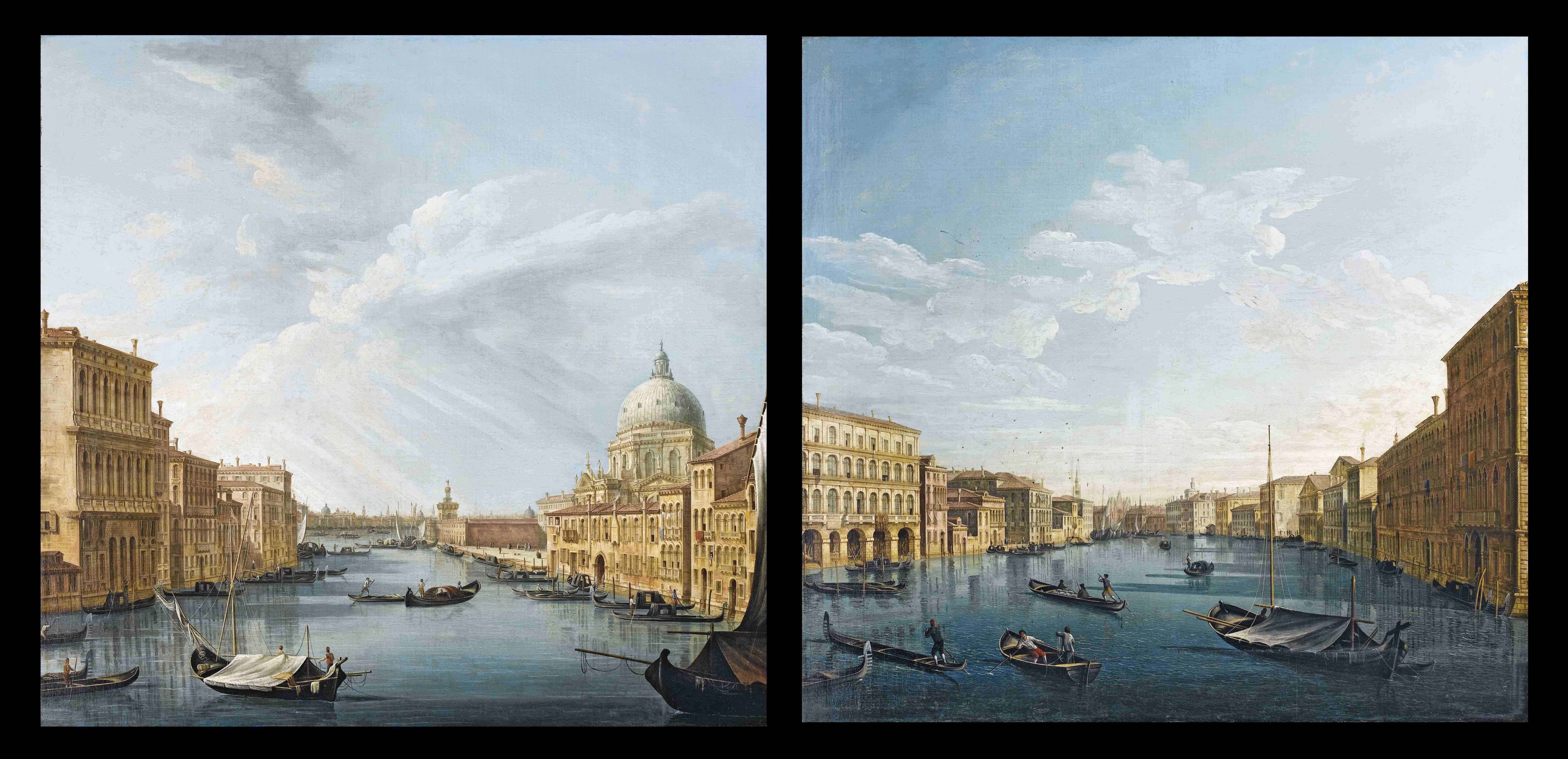 Veduta del Canal Grande con la chiesa della Salute; e Veduta del Canal Grande da palazzo Balbi alla volta di Canal, con Ca' Foscari e S. Maria della Carità; a sinistra, palazzo Moro Lin