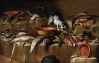 Natura morta di pesci con un gatto
