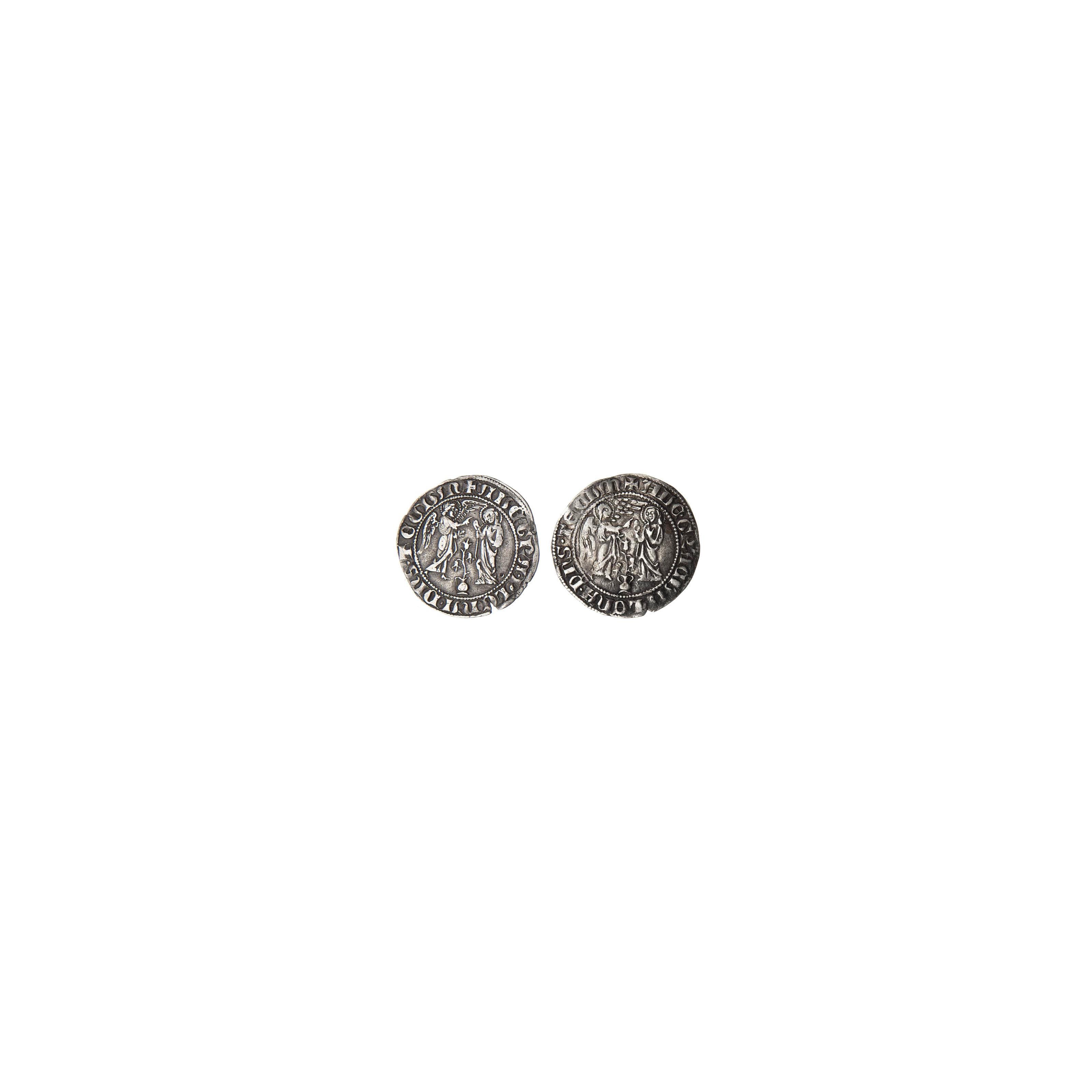 Napoli, Carlo I d'Angiò (1266-85), Saluto d'argento, AR 3.147g (MEC.677-678; MIR.20), Carlo II d'Angiò (1285-1309), Saluto d'argento, AR 3.252g (MEC.683-4; MIR.23), BB (2 pezzi)  (2)