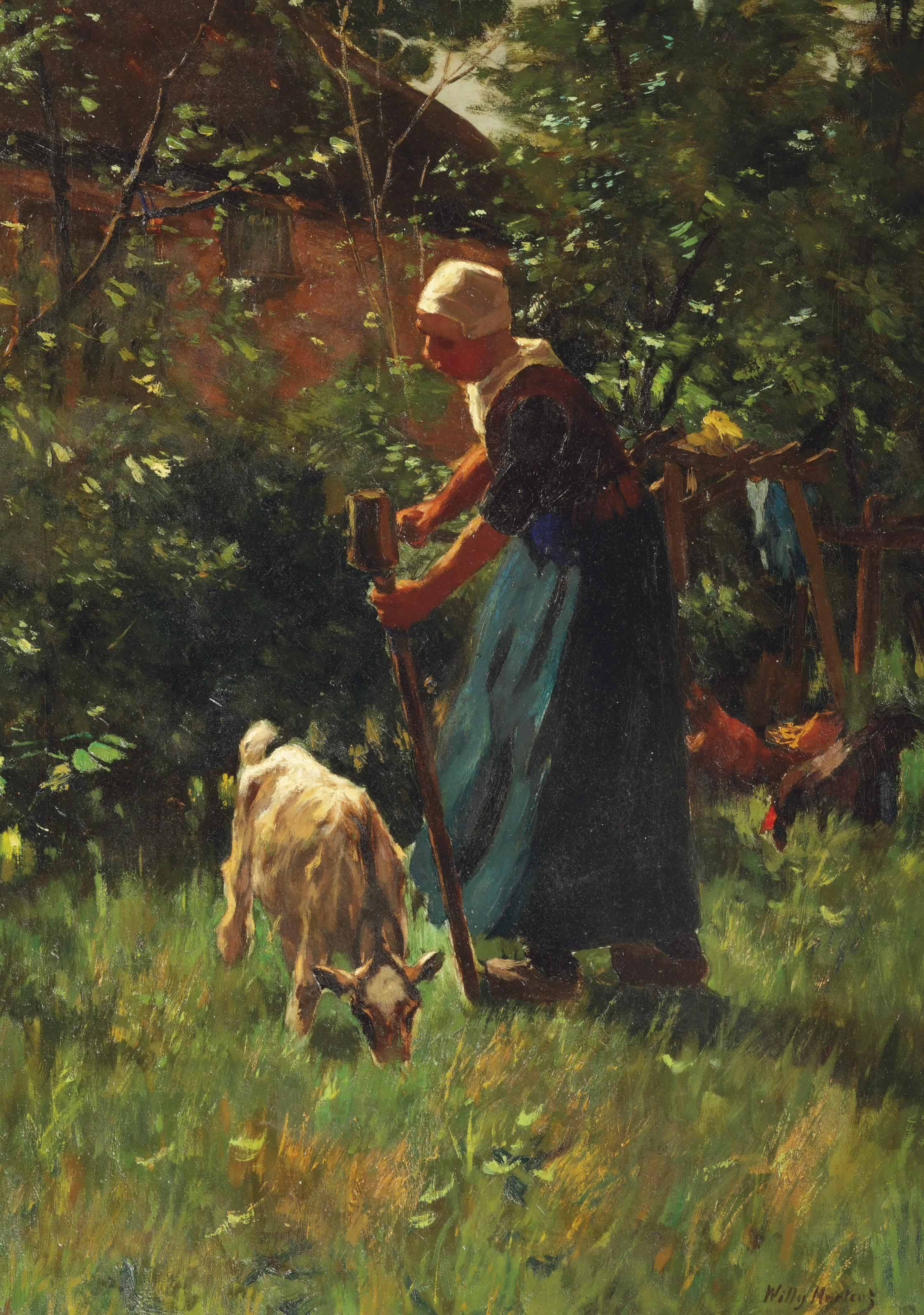 A farmer's wife tending the livestock