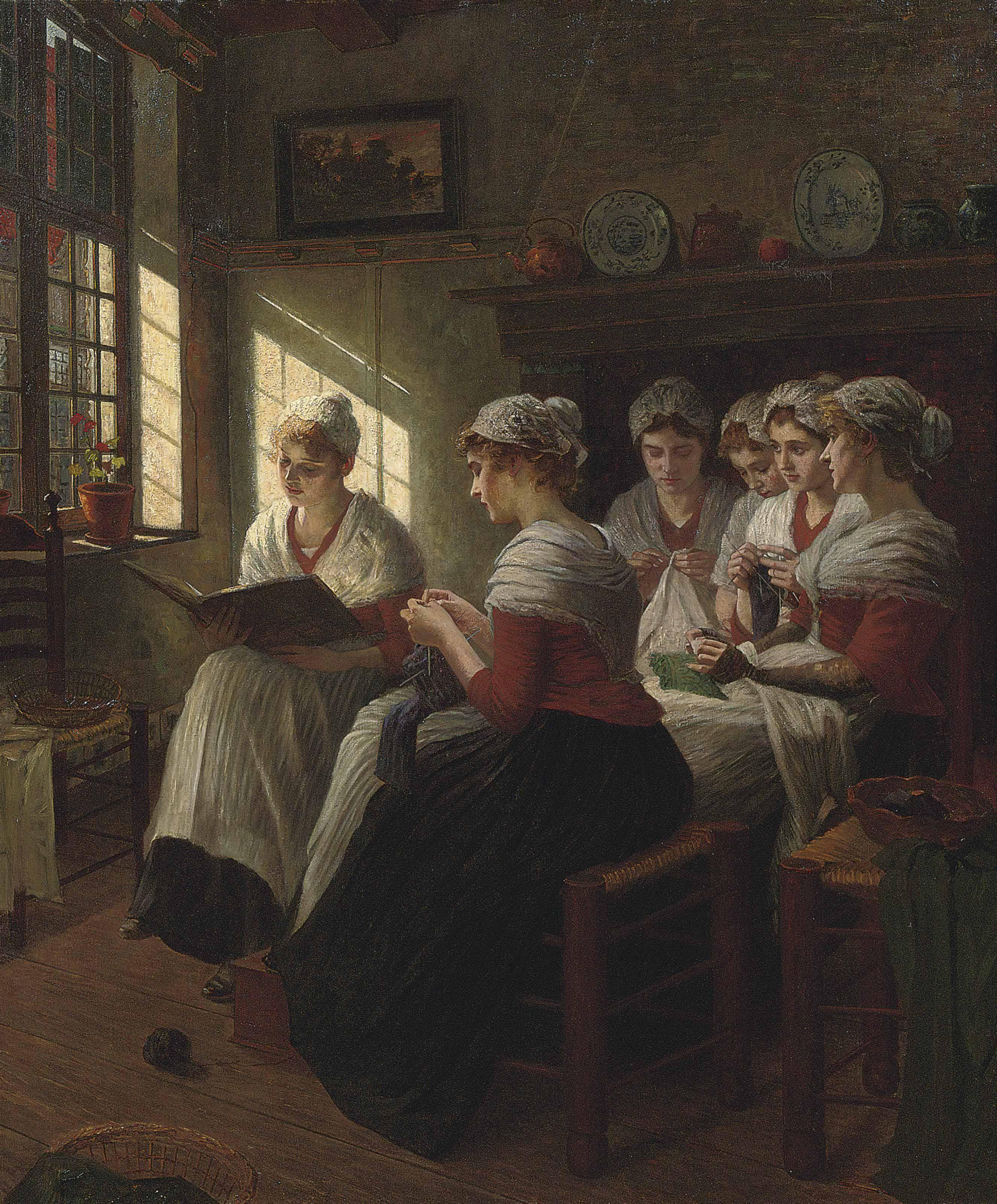 Girls knitting in the sunlight