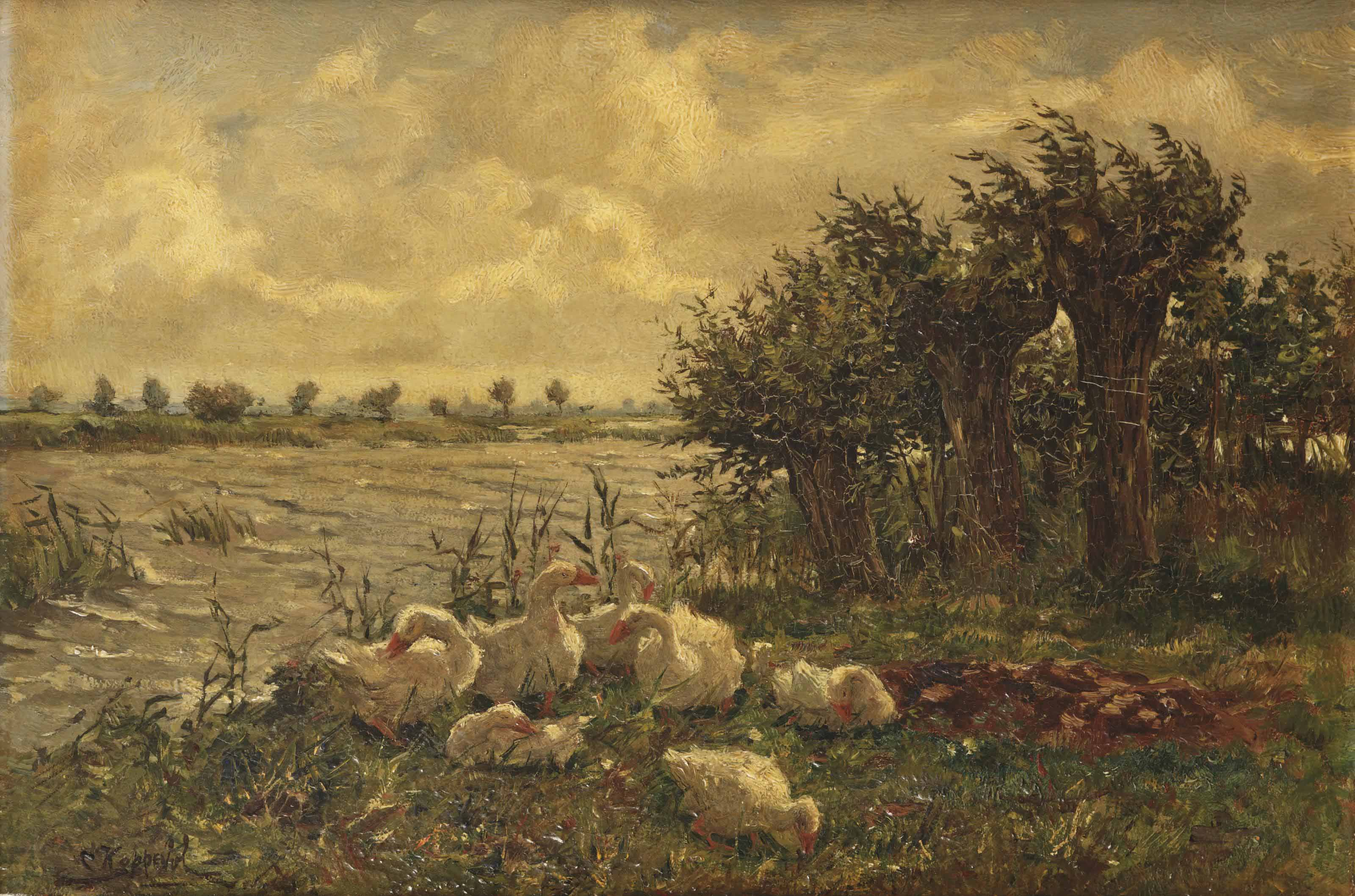 A wooded river landscape with geese