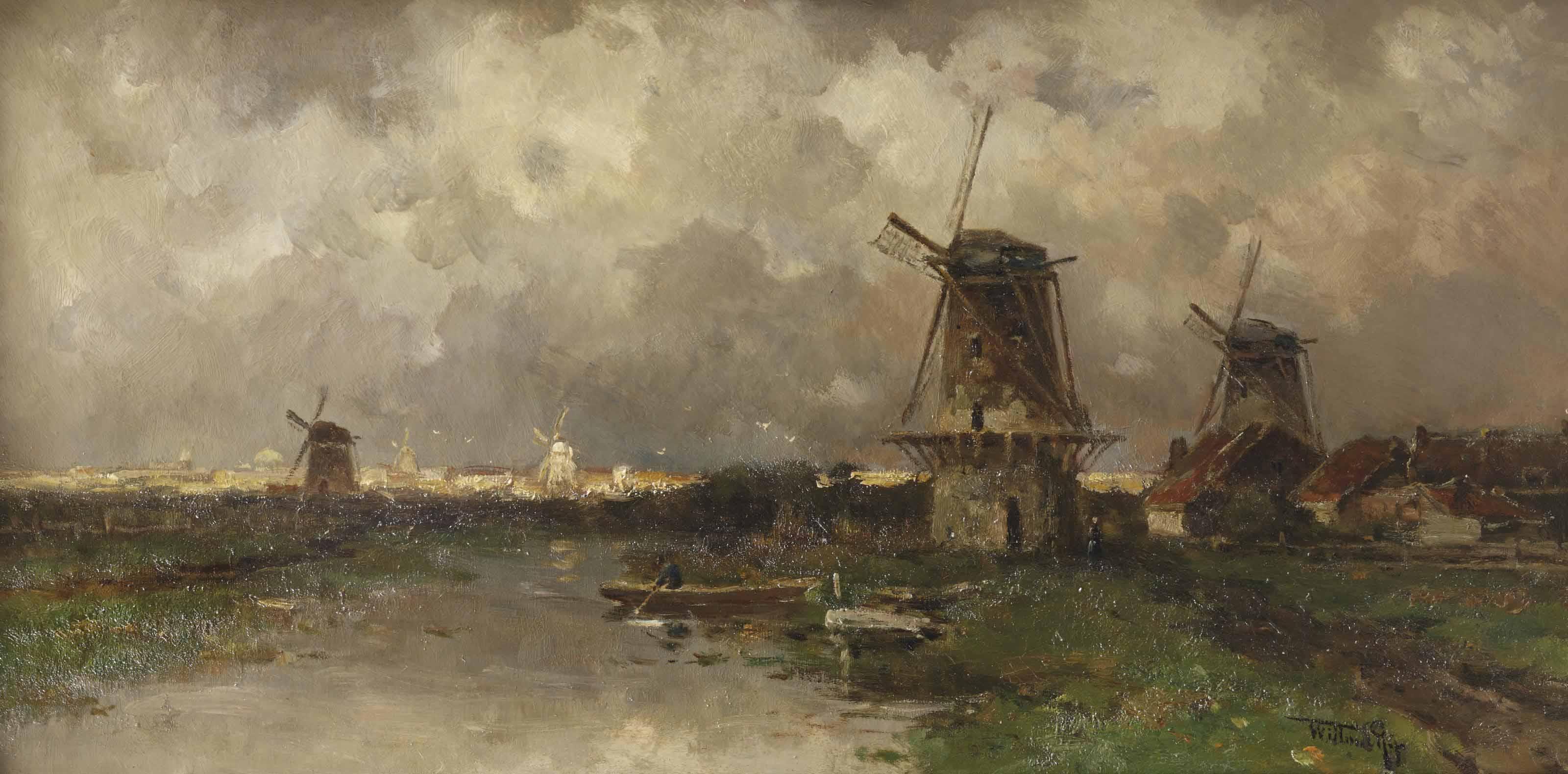 Opkomend onweder: windmills along a river
