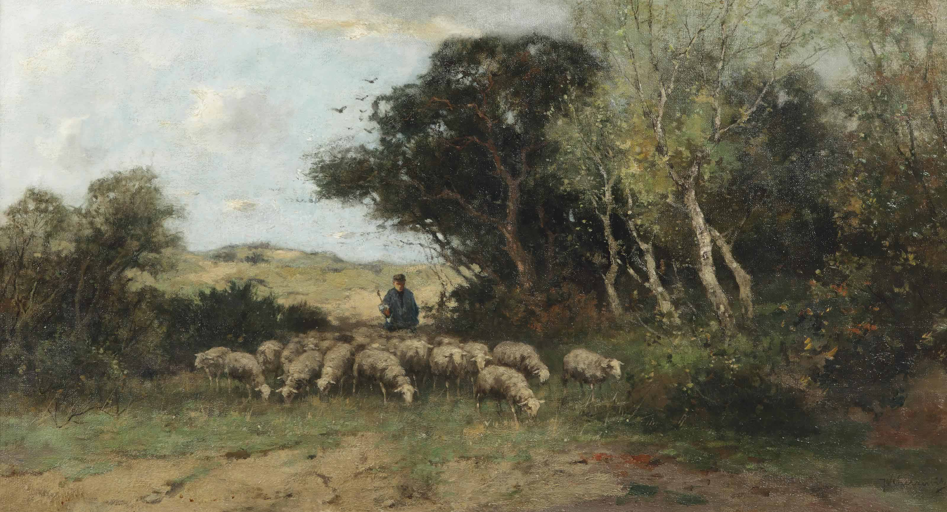 A shepherd and his flock in a wooded landscape