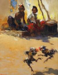 Spectateurs au combat de coqs, Madoura