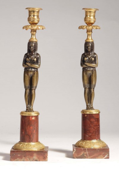 A pair of Baltic ormolu and pa