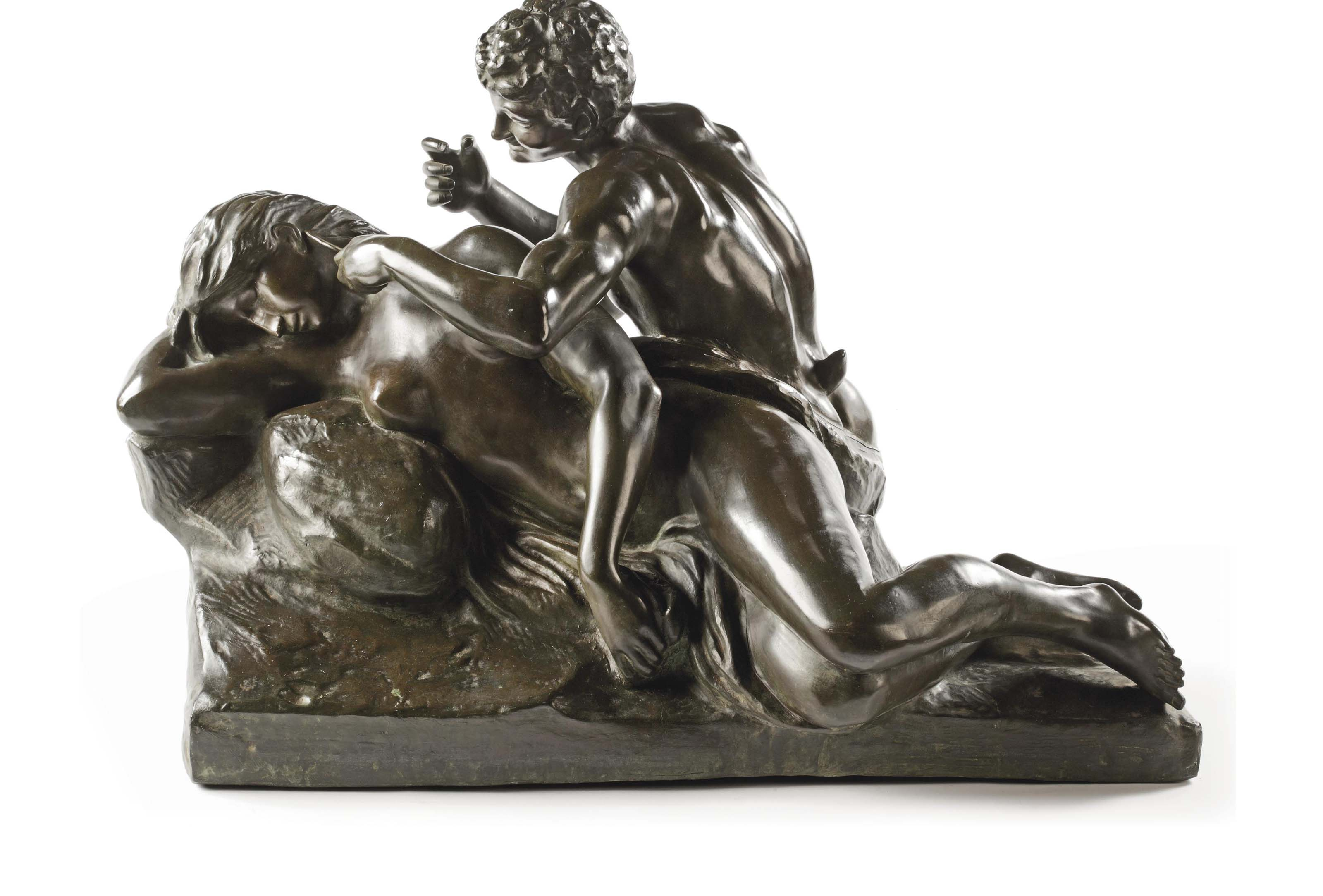 A BELGIUM BRONZE GROUP OF A SATYR TEASING A NYMPH 'TENDRESSE'