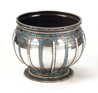 A Russian silver vase with app