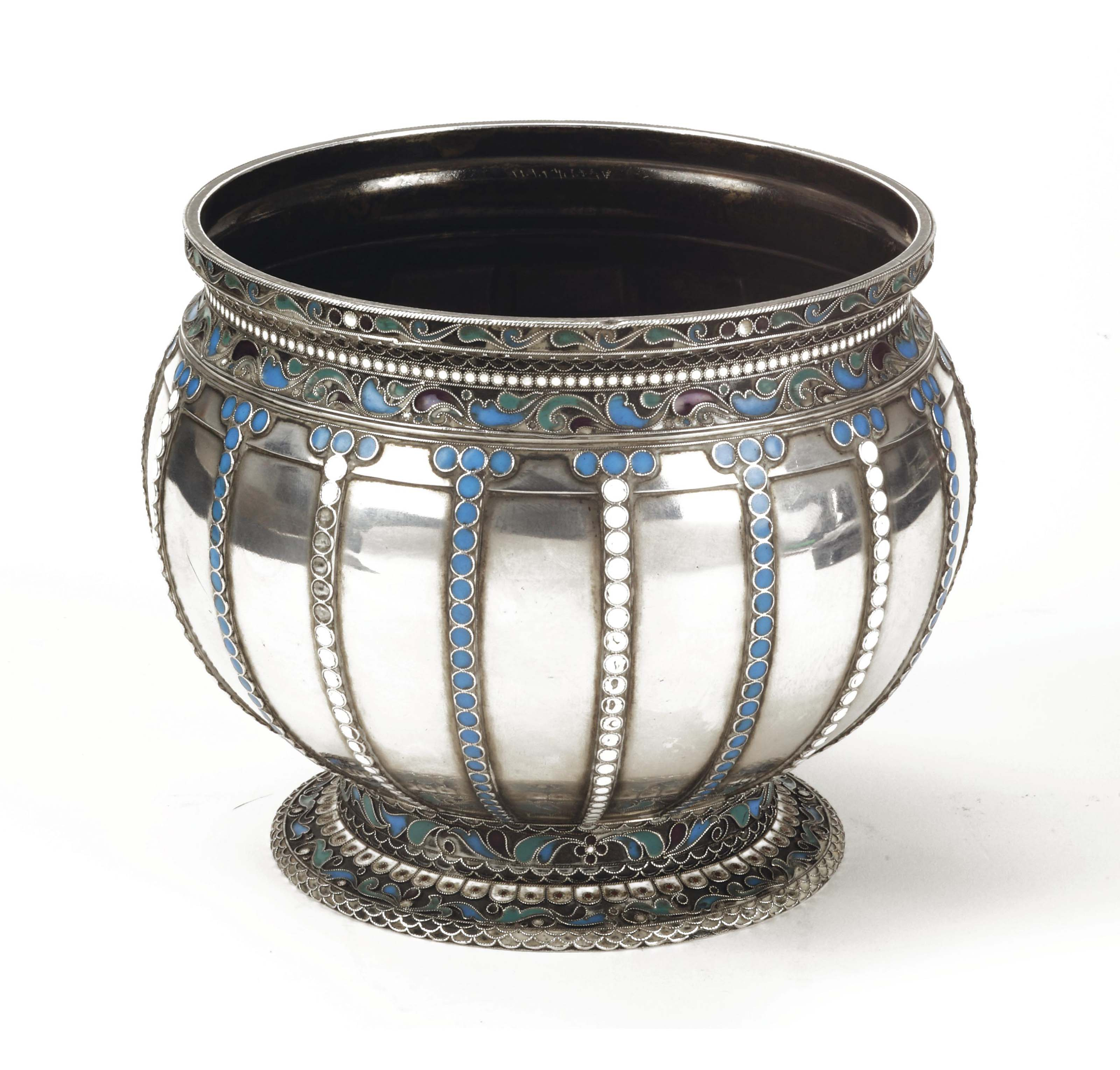 A Russian silver vase with applied filigrain and cloisonne enamel