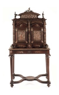 A NAPOLEON III BRONZE AND COPPER-MOUNTED OAK CIGAR CABINET-ON-STAND