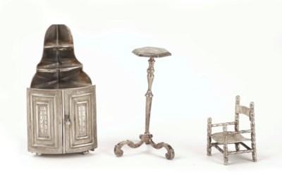 A Dutch silver miniature torch
