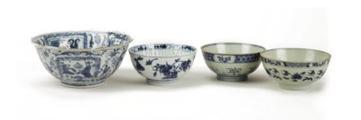 Four Chinese blue and white bo