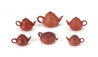 Six Chinese Yixing teapots and