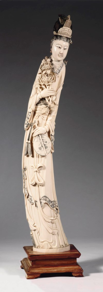 A Chinese ivory carving of a s