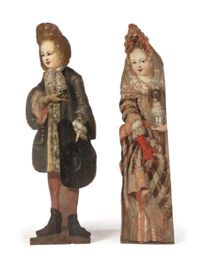 A pair of Dutch polychrome pai