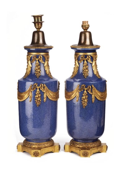 A pair of Chinese powder-blue