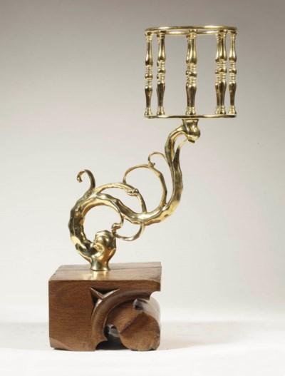 A Dutch brass holder for an ho