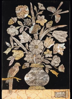 A DUTCH ENGRAVED MOTHER-OF-PEARL INLAID TOUCHSTONE AND BRECC