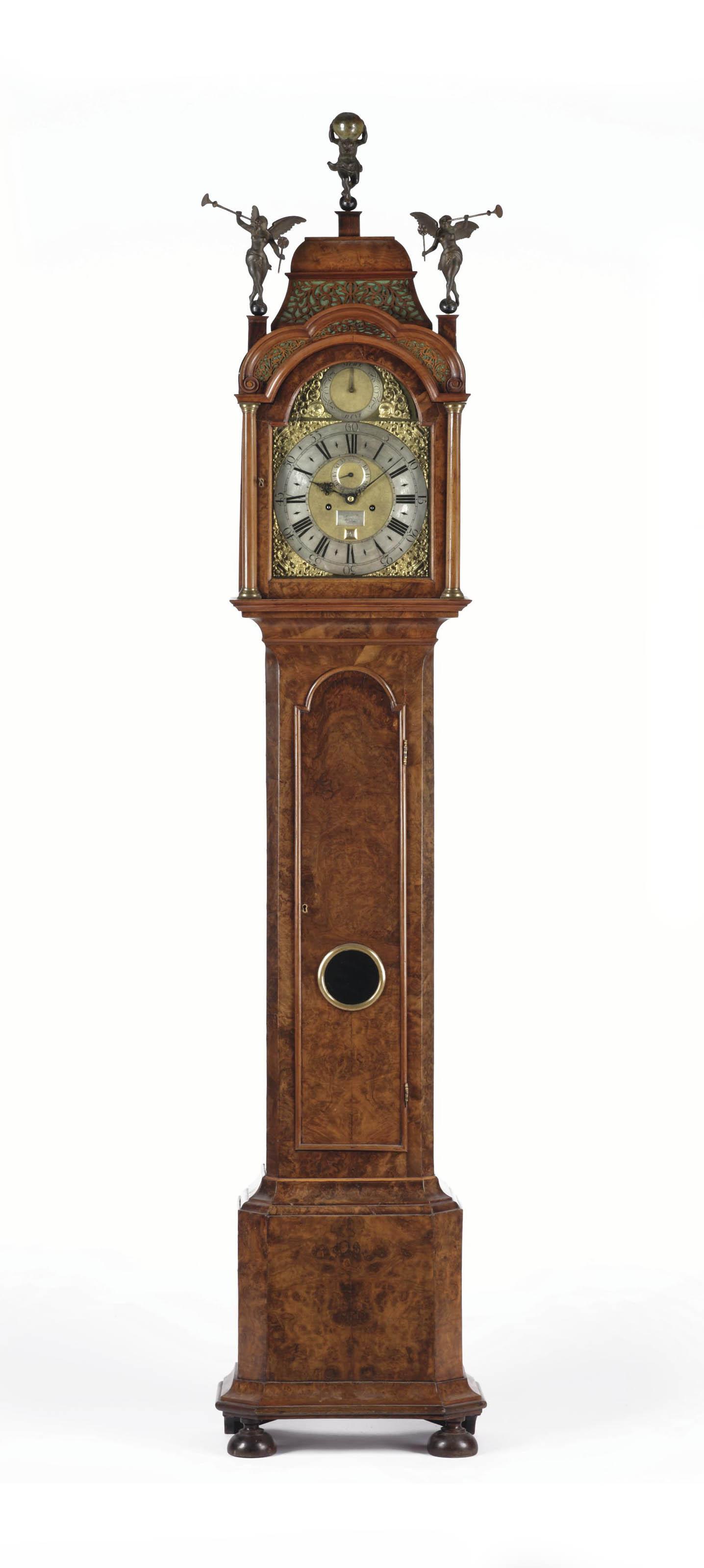 A DUTCH FIGURED WALNUT LONGCASE CLOCK